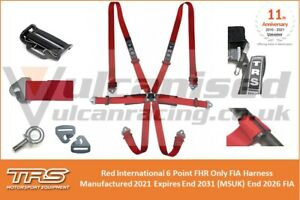 TRS International 6 Point FHR Hans Only FIA Harness Red Expires 2031 Race Rally