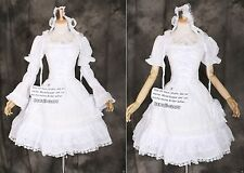 m-3315 White Red Gothic Lolita Classic Sleeves Removeable Dress Costume Cosplay