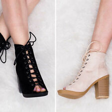 Women's Faux Suede Lace Up Block High Heel (3-4.5 in.) Boots