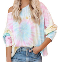 Women Off Shoulder Tie-Dye Pullover Blouse Casual Long Sleeve T-shirt Baggy Tops