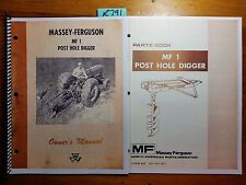 Massey Ferguson MF 1 Post Hole Digger Owner Operator Manual 9/62 + Parts 1/62