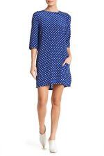 Equipment Aubrey Silk Dot Blue Print Dress 10269 Size Large