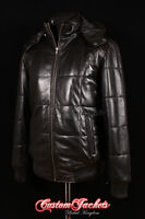 Men's COLORADO HOODED Black PUFFER Down Quilted Lambskin Leather Jacket Coat