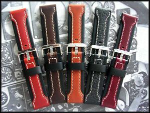 24mm Brown Wine Black Pan Aerrow Leather Aviator Pilot watchband strap IW SUISSE