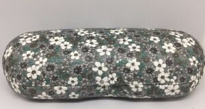 Multicolored Floral Hard Clamshell Eyeglass Case Grey White Teal