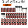 132 pc SANDING BAND DRUM SET Mandrels Rotary Tool DIY For DREMEL
