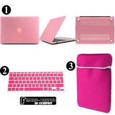 Rubberized Hardshell Case + Neoprene Pouch + Keyboard Skin For Apple Macbook