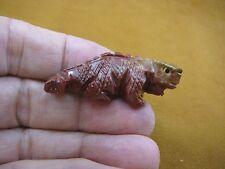 Y-Liz-Ig-21) little red Iguana Lizard carving Soapstone Peru gem Figurine stone