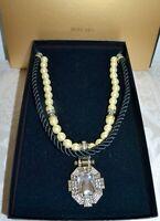 "New $200 HEIDI DAUS ""Estate Elegance"" 3 Piece Clear Crystal Pearl Necklace"
