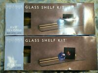 "SHELF MADE IMAGES 2- 6""X18"" BRASS AND GLASS SHELF KITS NEW IN THE BOX"