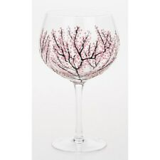 Sunny By Sue Hand Painted Gin & Tonic Large Japanese Pink Blossom Glass Boxed