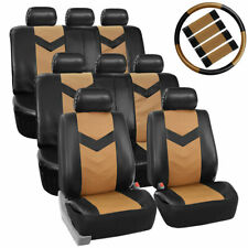 3 Row Car Seat Covers Leather 8 Seater SUV VAN Set Steering  Belt Pads Beige