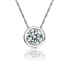 925 Sterling Silver Circular AAA Zircon Pendant Necklace For Women Jewelry