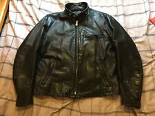 Vintage SCHOTT 141 Black Leather Cafe Racer Motorcycle Jacket Men's Size 46
