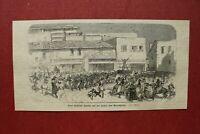 ZCe) Holzstich türkische Spritze Fahrt Brandplatz 1873 Gebäude Personen 9x18cm