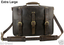 "Cool Men Real Leather Large Travel Bag Luggage Backpack Saddle 17"" Duffle Bag"