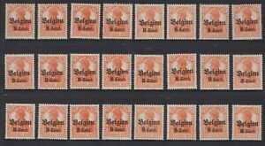 WWI c.1916 Belgium Belgique German Occupation BELGIEN 8c Orange O/P MNH Lot x 24