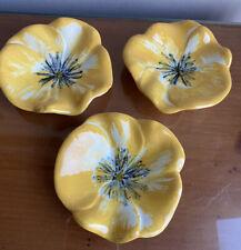 Set of Three Vintage Stangl Teabag Holders~~Yellow & Black Pansy Pattern