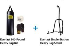 Everlast 100 Lb Heavy Bag Kit With Single Station Stand Value Bundle Boxing MMA
