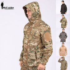 Windbreaker Mens Tactical Soft Shell Jacket Coat Army Casual Hooded Camo Hiking