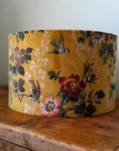 Handmade Lampshade Leighton Velvet Ochre Mustard Yellow Birds Floral Roses Blue