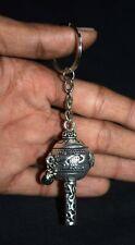 Hanuman Gada Key Chain White Metal Car Front Mirror Hang Handbag Key Ring AM43