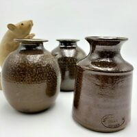 3 x Bendigo Pottery 1970s Salt Glazed Pots 9 & 10cm, Initials ANG  & PD