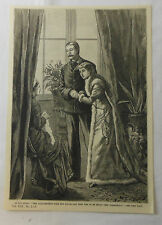1886 magazine engraving ~ Mother speaks to daughter and son-in-law