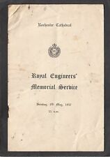 Programme 1957 Royal Engineers Memorial Service Rochester Cathedral