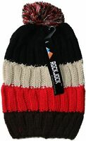 WOMENS LADIES CHUNKY STRIPED CABLE KNITTED BEANIE HAT WITH POM POM - BLACK & RED