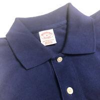 Brooks Brothers Polo Shirt, Cotton, Dark Blue, Solid, Medium