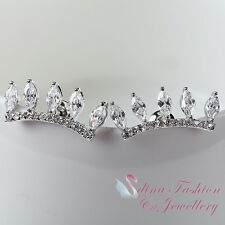 18K White Gold Plated Clear Five Cubic Zirconia Crown Delicate Stud Earrings
