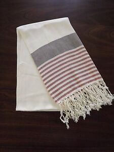 Turkish Cotton & Bamboo Bath Beach Towel Peshtemal Dark Blue Red Marina Series