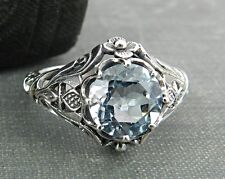 Vintage Style Sterling Silver and Light Blue Stone Ring - Size 5.75