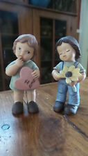 Goebel LIMPKE NINA & MARCO FIGURINE PAIR Boy-Daisy, Girl - Heart, Love