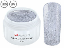 UV LED GEL EXTREM GLIMMER Effekt SILVER Farbgel Color Nagelmodellage Nail Silber