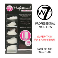 False Nails W7 Professional Square Fake Nail Tips Pack of 100 Size 1-10