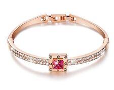 Rose gold finish princess cut created pink sapphire bangle gift idea