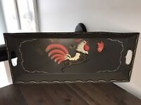 """Vintage Americana Hand Painted Rooster Chasing a Butterfly Tole Metal Tray 21x9"""""""