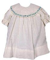VTG Sarah Kent Girls 3T Dress Toddler Floral Collar Embroidery Modest Ivory Blue