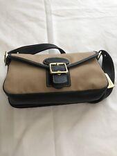 COACH BLACK Leather & BEIGE Canvas Shoulder Bag