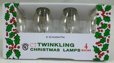 (4 Pack) TWINKLING FLASHING CLEAR C-7 Light Bulbs 7 Watt Holiday Christmas Night
