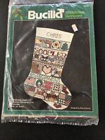 "Bucilla Christmas Heirloom Sampler Stocking Cross Stitch Kit 18"" 82433"