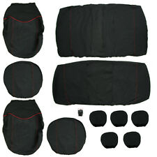 11pcs Full Seat Cover Set Universal Car Seat Cover Low Front Back Set Black +Red