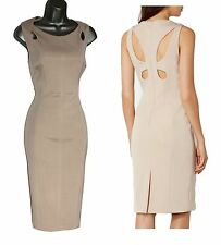 NEW Karen Millen Neutral Sinuous Cutouts Curves Pencil Dress UK14 42 DZ073 £190