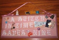 Laundry or Sewing Room Wall Plaque A STITCH ---Distressed Weathered Wood