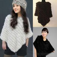 New Style Lady Warm Real Farms Rabbit Fur Wrap Shawl Cape Poncho Scarf Outwear