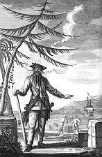 Edward teach alias barbe noire daniel defoe 7x5 pouces repro pirate art imprimé 1736