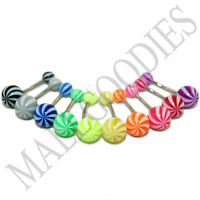 W035 Acrylic Belly Naval Rings Curved Stripes Color Shape Pattern Design 10pcs