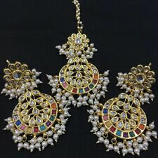 Beautiful Indian Style Pearl Kundan   Earrings + Mangtika Set